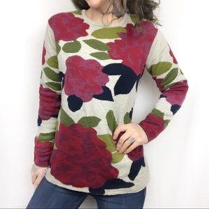 J. Jill Floral Print Rose Sweater {Size Small}